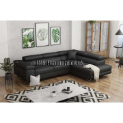 ANTONY - BLACK faux leather - Corner Sofa Bed