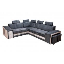 KORAL - Corner Sofa Bed  with LED + 2 poufs