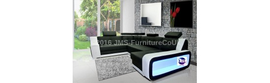 Corner sofa bed with LED lights